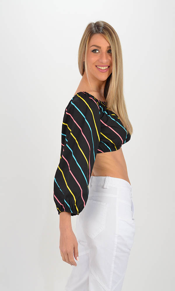 Collection Spring - Summer 2021 THE LULU STRIPE OUT-SHOULDER CROP TOP
