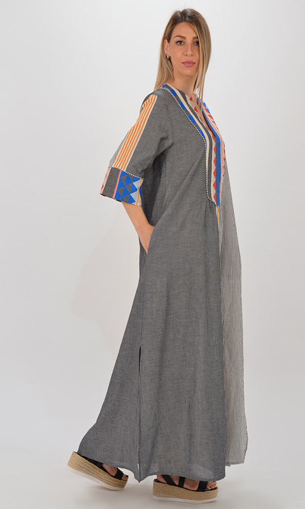 Collection Spring - Summer 2021 DEVOTION LONG DRESS WITH STRIPES