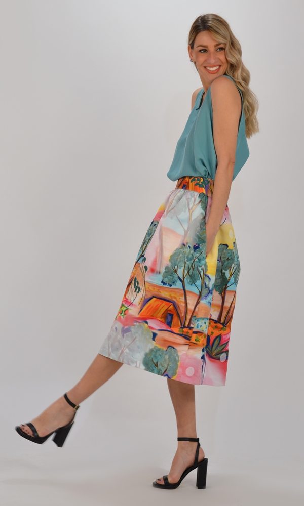 Collection Spring - Summer 2021 CMANOLO ROMANTIC PAINTING SKIRT