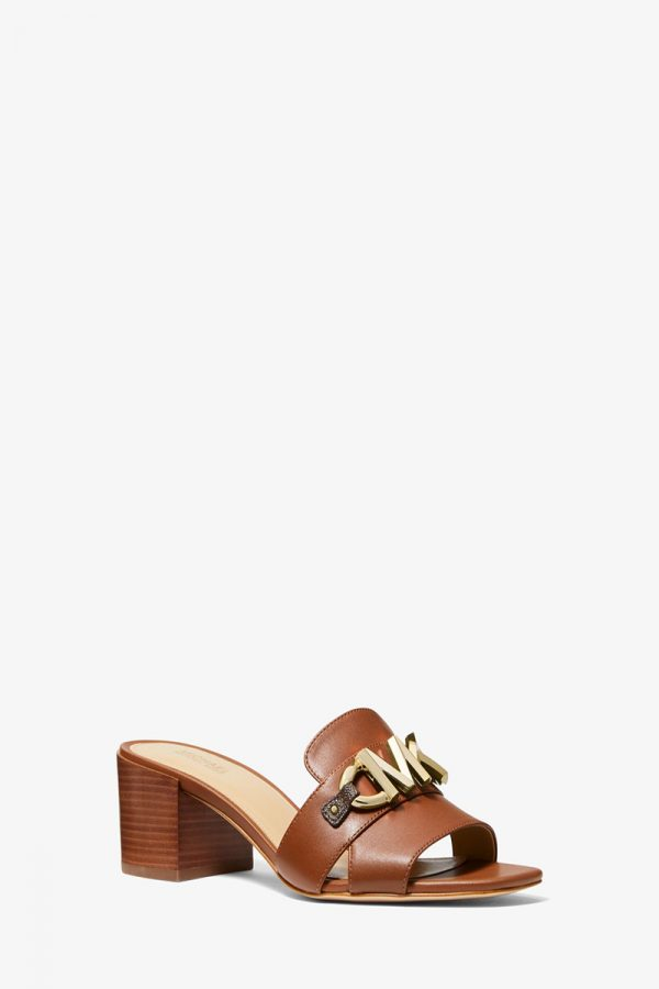 Collection Spring - Summer 2021 MICHAEL KORS IZZY LOGO EMBELLISHED LEATHER MULE LUGGAGE