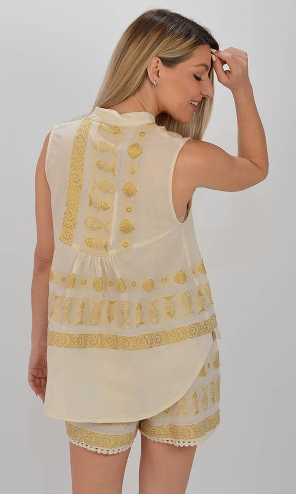 Collection Spring - Summer 2021 NEMA THALIA OFF WHITE-GOLD TOP