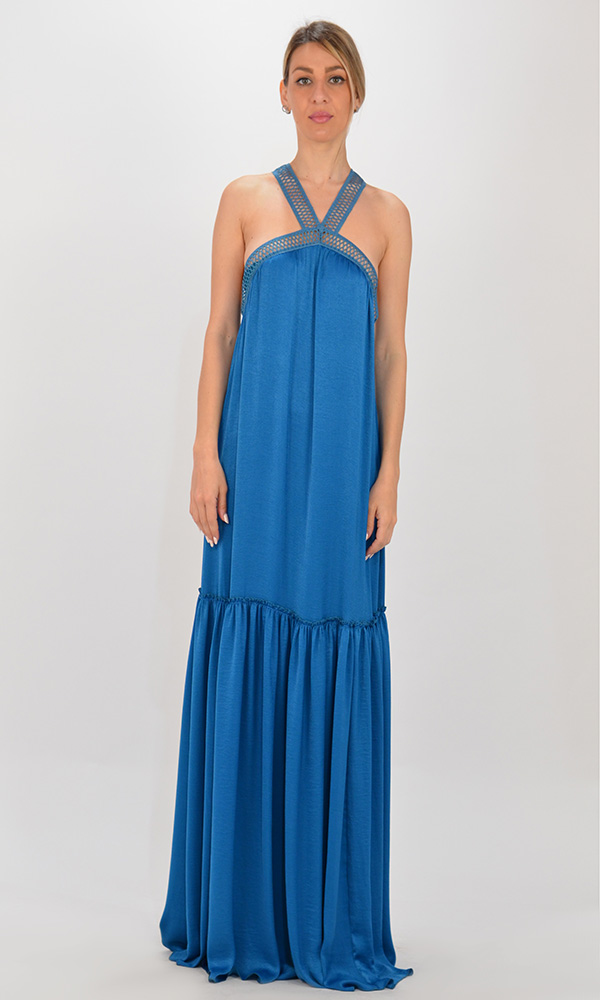 Collection Spring - Summer 2021 CKONTOVA BLUE DRESS WITH LACE