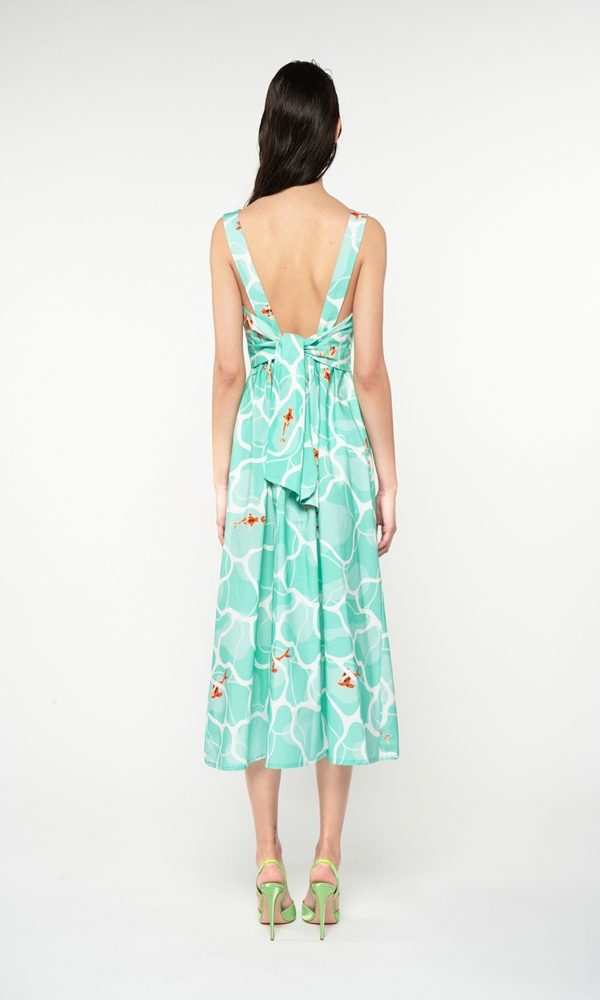 Collection Spring - Summer 2021 WE ARE V NECK OPEN BACK MINT MIDI DRESS