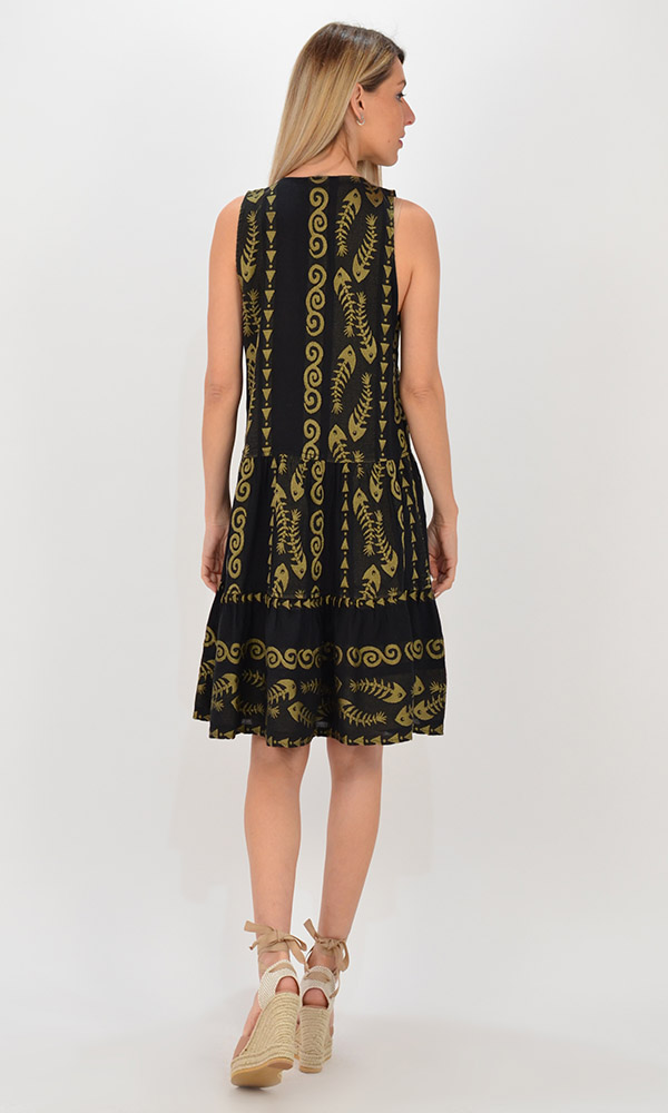 Collection Spring - Summer 2021 NEMA CLIO EMBROIDERED BLACK-GOLD SHORT DRESS