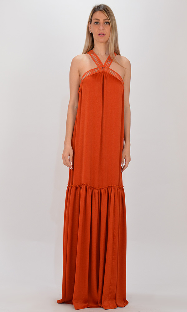 Collection Spring - Summer 2021 CKONTOVA TERRACOTTA DRESS WITH LACE