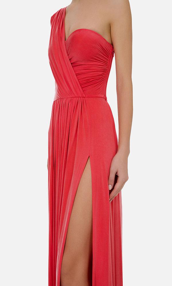 Collection Spring - Summer 2021 ELISABETTA FRANCHI ONE-SHOULDER LONG DRESS