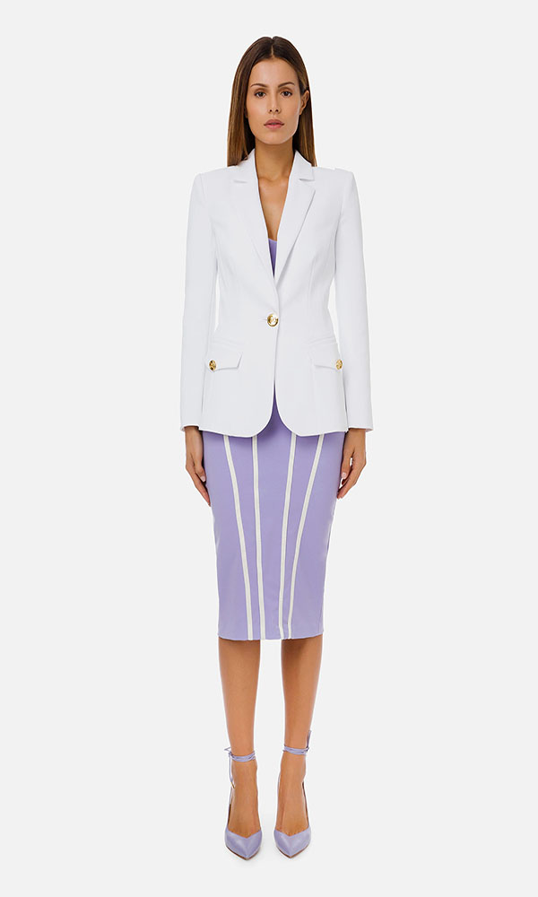 Collection Spring - Summer 2021 ELISABETTA FRANCHI JACKET WITH V-NECK AND LIGHT GOLD BUTTON