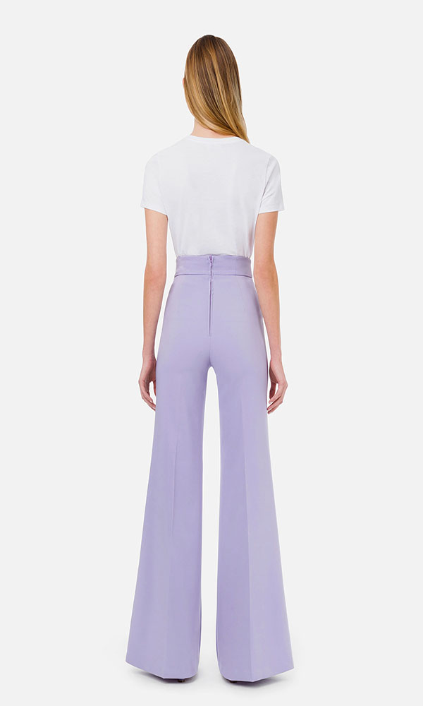 Collection Spring - Summer 2021 ELISABETTA FRANCHI PALAZZO TROUSERS WITH GOLD LOGOED BUTTONS