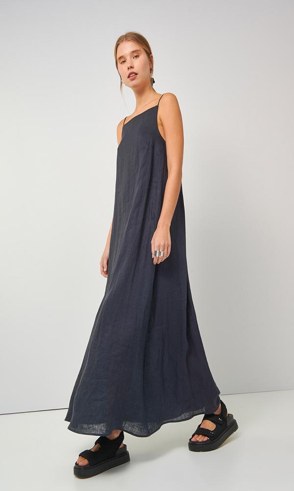 Collection Spring - Summer 2021 BLACK&BLACK LINEN LONG DRESS