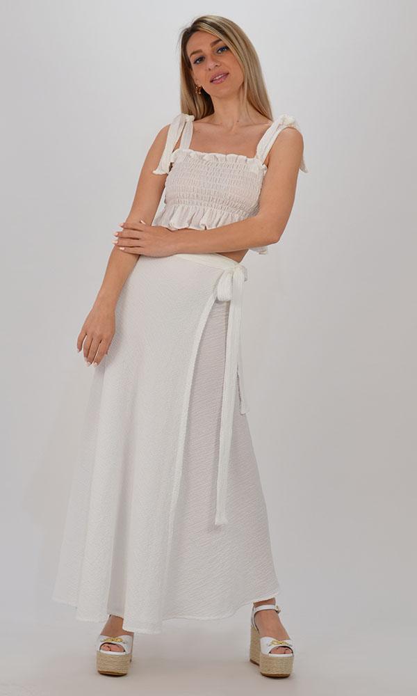 Collection Spring - Summer 2021 CKONTOVA WHITE CRINKLE PAREO & CRINKLE TOP SET