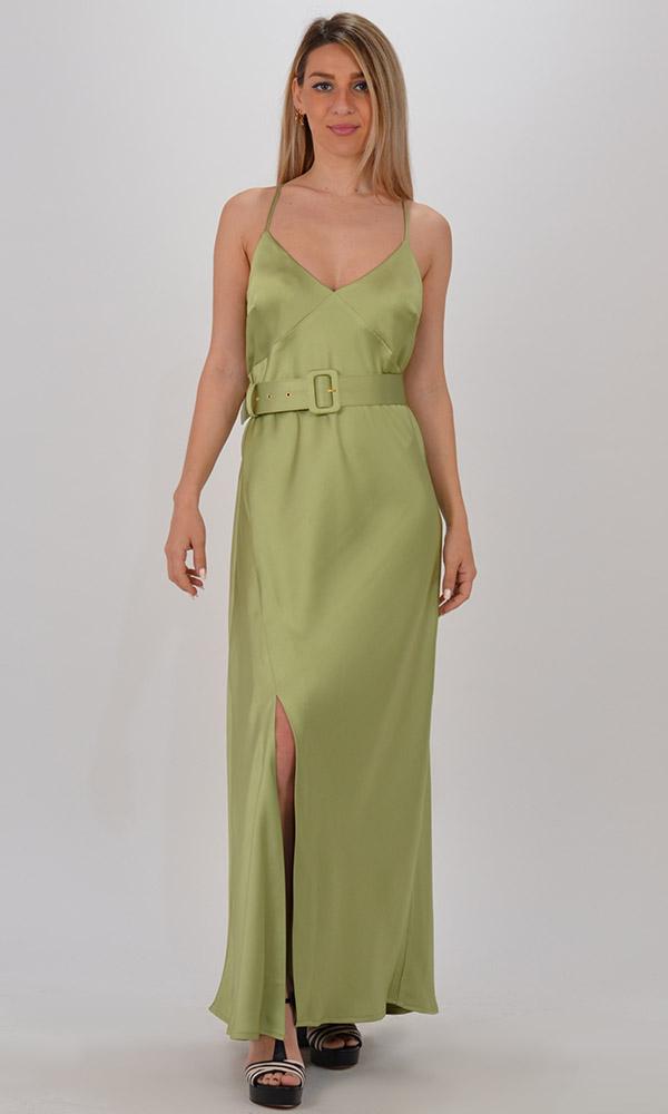 Collection Spring - Summer 2021 CKONTOVA SATIN DRESS GREEN