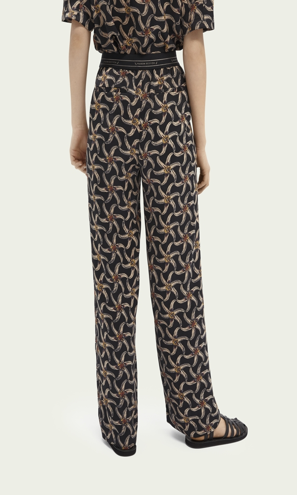 Collection Spring - Summer 2021 SCOTCH & SODA PRINTED ELASTIC WAIST WIDE-LEG TROUSERS