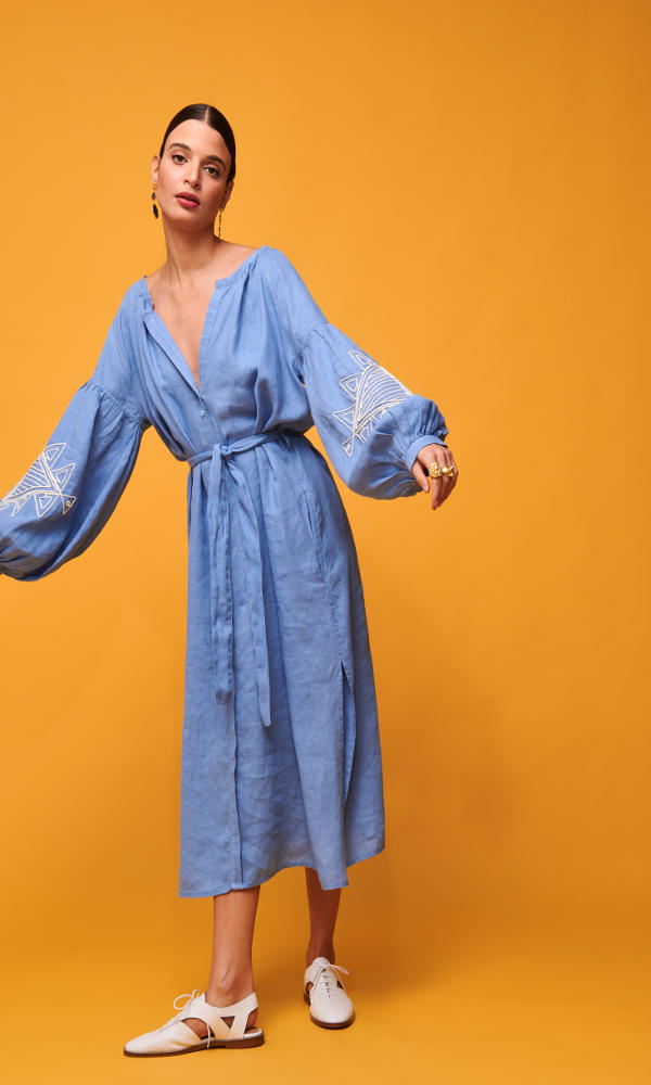 Collection Spring - Summer 2021 NEMA SEMELI MIDI DRESS LIGHT BLUE