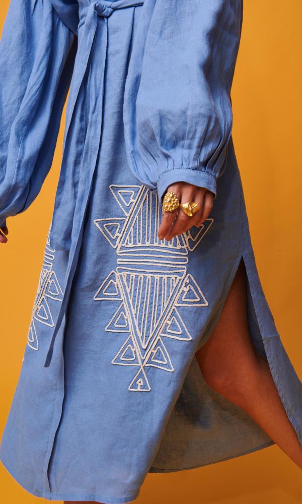 Collection Spring - Summer 2021 NEMA PANDORA MIDI DRESS LIGHT BLUE