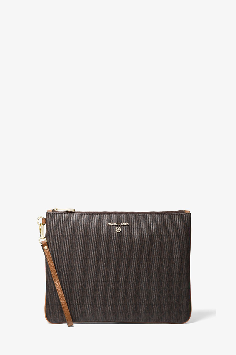 Collection Spring - Summer 2021 MICHAEL KORS  SLATER LARGE LOGO AND LEATHER 2-IN-1 WRISTLET