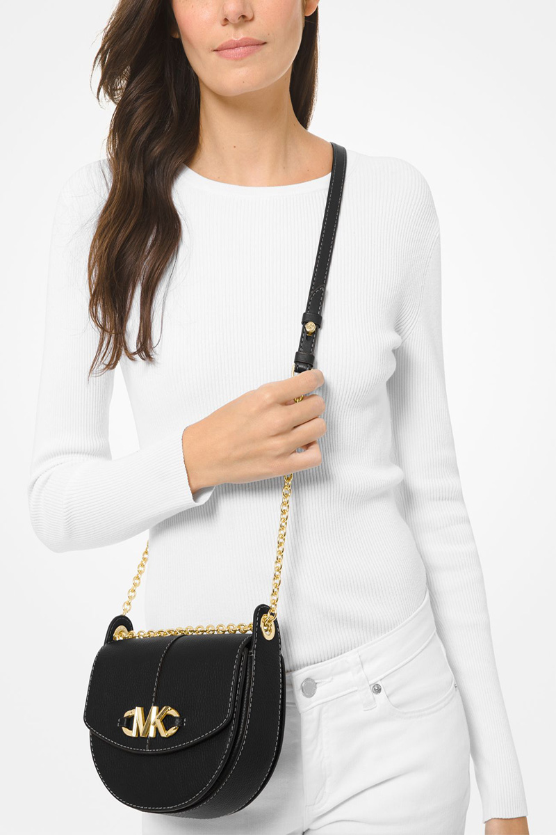 Collection Spring - Summer 2021 MICHAEL KORS IZZY SMALL PEBBLED LEATHER  SADDLE CROSSBODY BAG