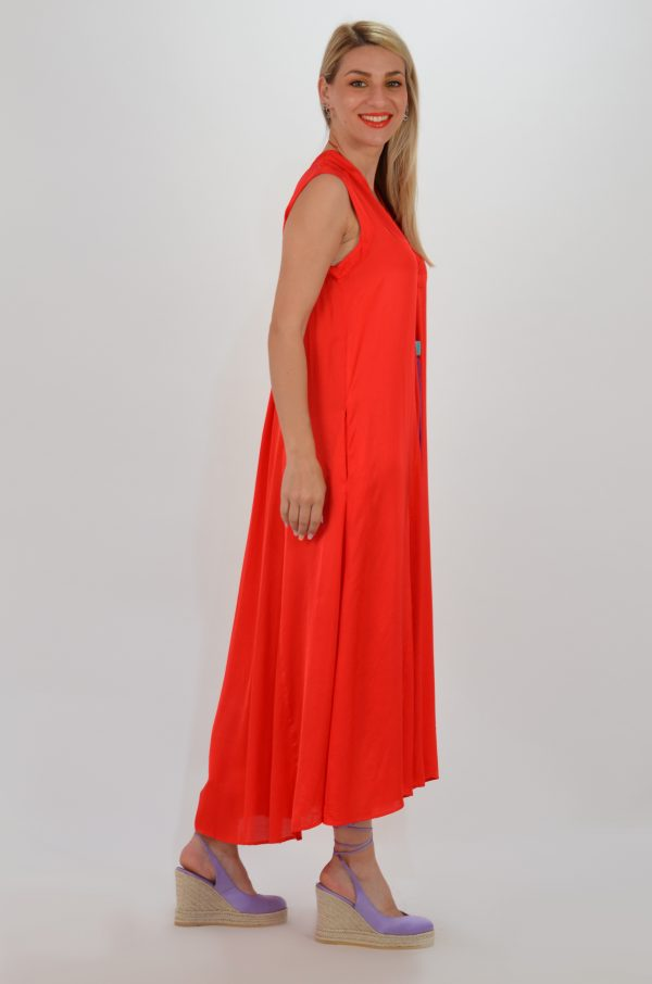 Collection Spring - Summer 2021 ATHINA KLO KAFTAN SATIN LOOSE OPEN RED