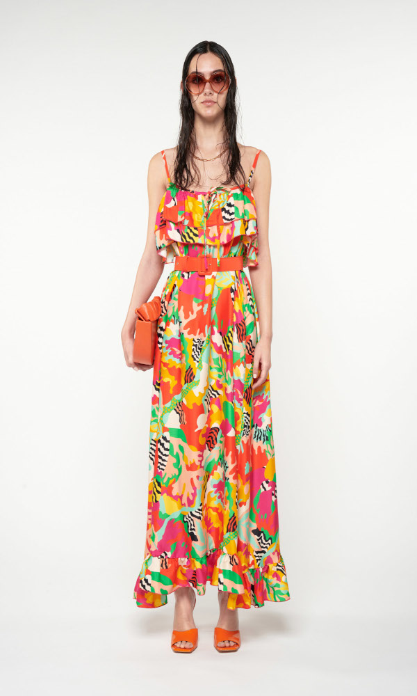 Collection Spring - Summer 2021 WE ARE SLIP MAXI DRESS PSYCHEDELIA GREEN