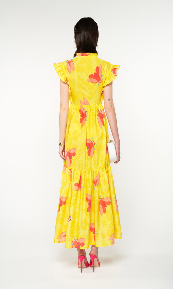 Collection Spring - Summer 2021 WE ARE RUFFLED SHOULDERS MAXI TIERED DRESS TZITZIKIA