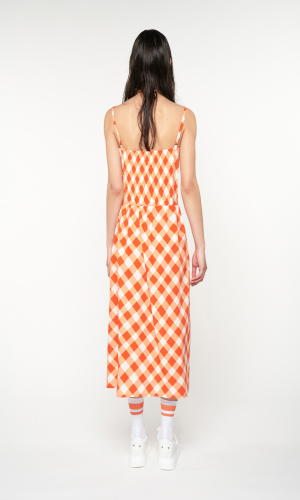 Collection Spring - Summer 2021 WE ARE SWEETHEART NECK MIDI DRESS GINGHAM RED