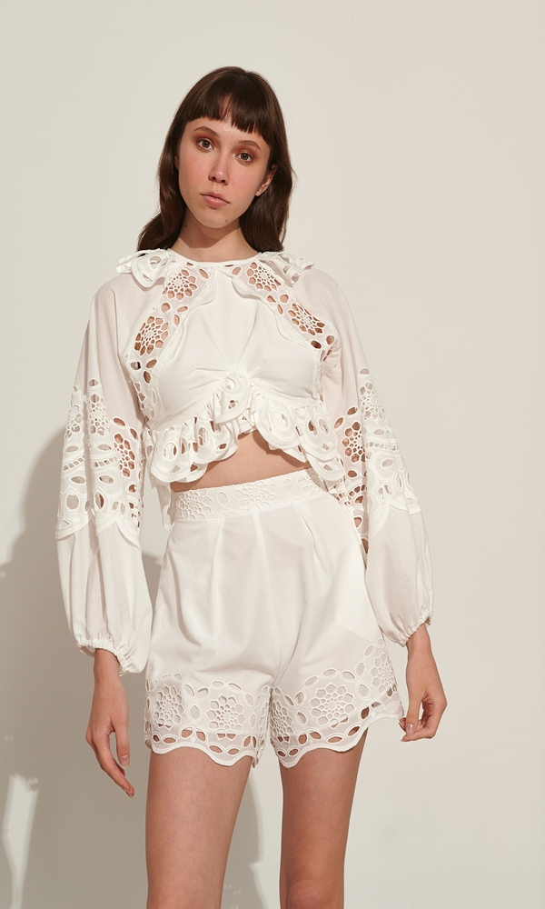 Collection Spring - Summer 2021 LACE EMBROIDERY SHORTS ΛΕΥΚΟ