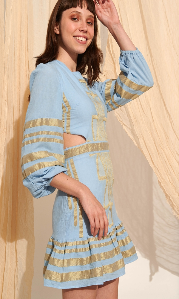 Collection Spring - Summer 2021 LACE LIGHT BLUE EMBROIDERY MINI DRESS