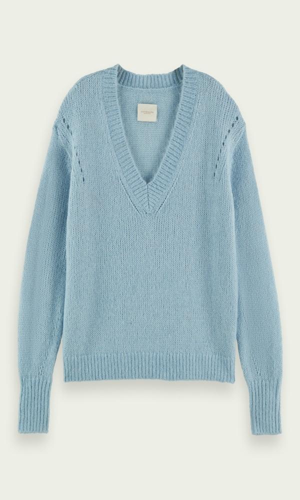 Γυναικεία Ρούχα SCOTCH&SODA V-NECK WOOL-BLEND SWEATER