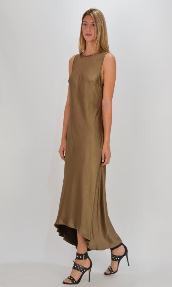 Γυναικεία Ρούχα CKONTOVA SATIN DRESS KHAKI