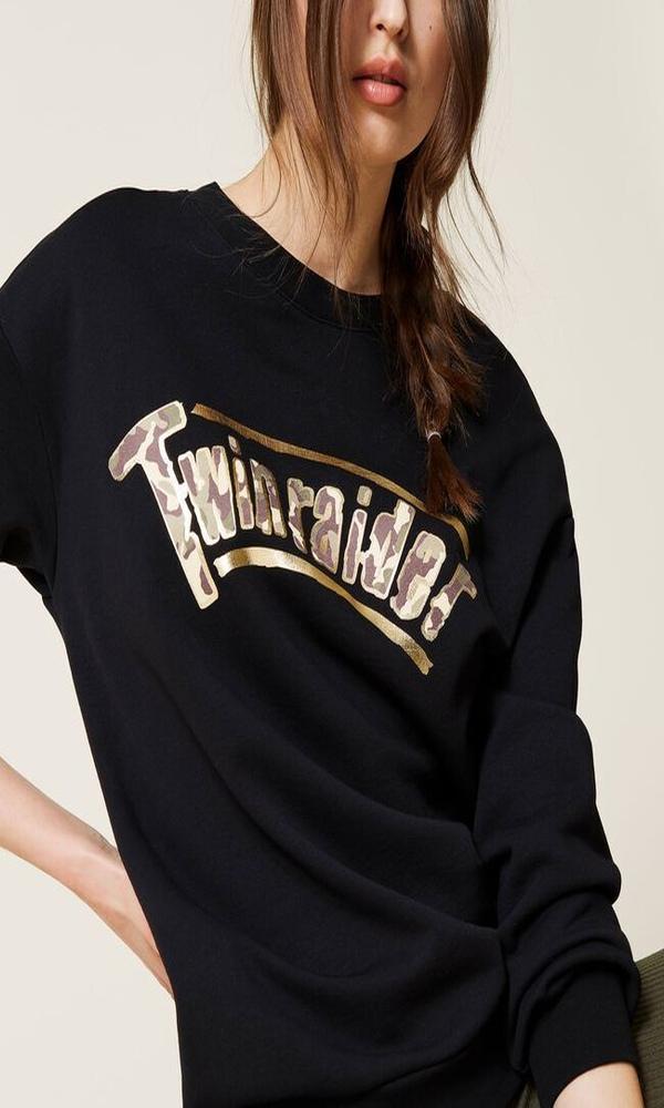 Γυναικεία Ρούχα TWINSET FELPA NERO HOODIE 212LI2DAA
