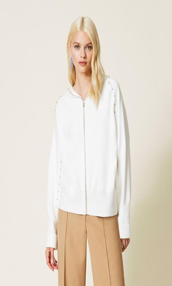 Γυναικεία Ρούχα TWINSET AVORIO JACKET 212LI3PCC