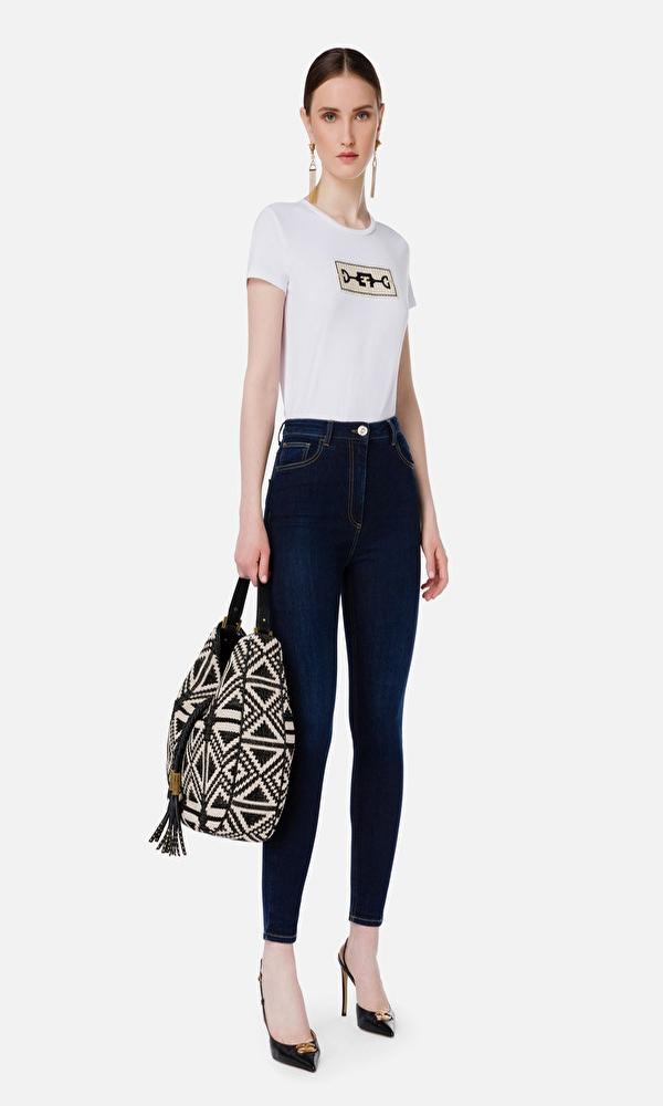 T-Shirts ELISABETTA FRANCHI LOGO PATCH CREWNECK T-SHIRT
