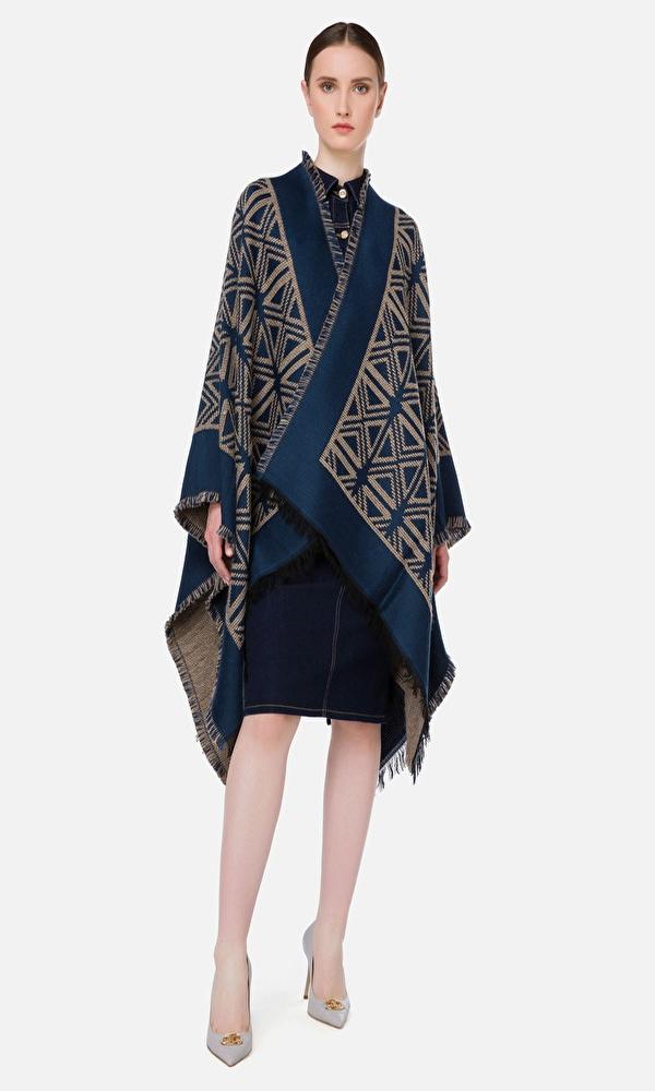 Γυναικεία Ρούχα ELISABETTA FRANCHI FRINGED CAPE COAT