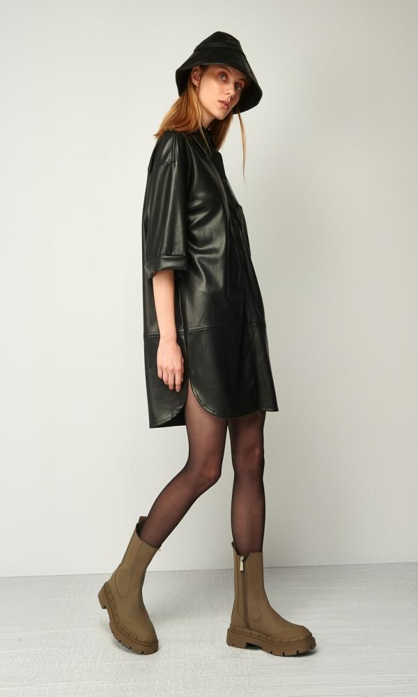 Γυναικεία Ρούχα BLACK&BLACK MINI LEATHER DRESS