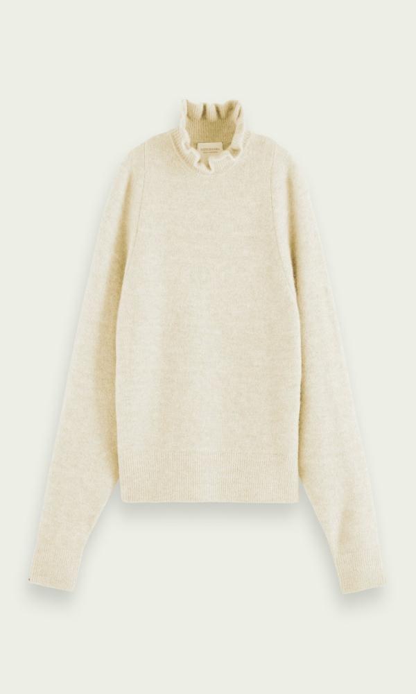 Γυναικεία Ρούχα SCOTCH & SODA RUFFLED MOCK NECK SWEATER