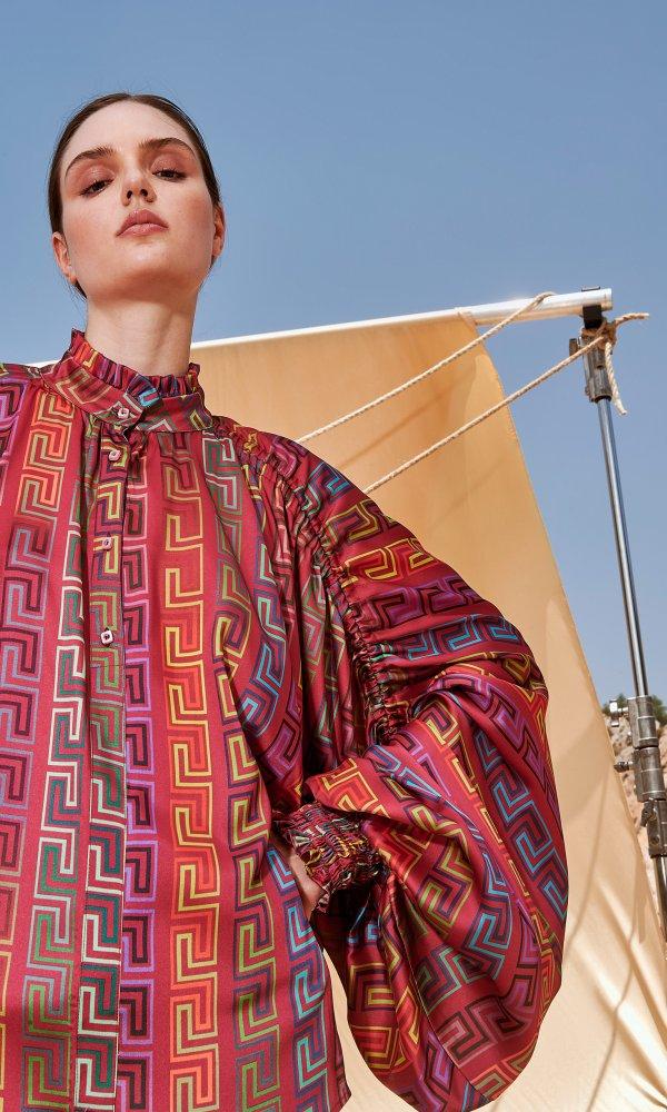 Γυναικεία Ρούχα NEMA GREEK GEOMETRIC BLOUSE